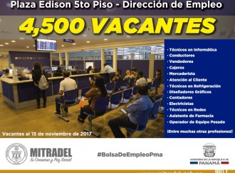 Más de 4 mil vacantes para panameños en la bolsa de empleo Mitradel