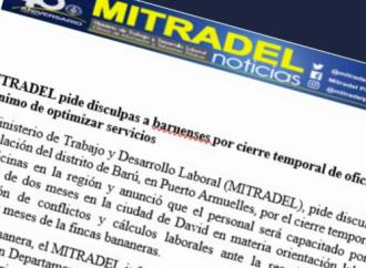MITRADEL capacitará al personal durante cierre temporal de la oficina regional del distrito de Barú