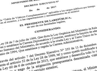Gobierno redujo pago de viáticos para funcionarios en Misión Oficial en el exterior