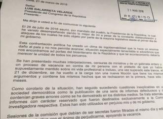 Carta de PPK al Congreso sobre su renuncia al cargo de presidente del Perú