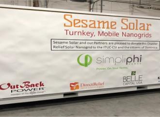"""WAWU y la Commonwealth de Dominica recibirán donación de un """"Nanogrid Solar de Control de Desastres"""" deSesame Solar equipado con una oficina"""