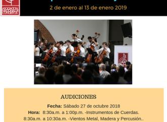 Estesábado 27 de octubreson las audiciones para el próximo Campamento Musical Juvenil 2019