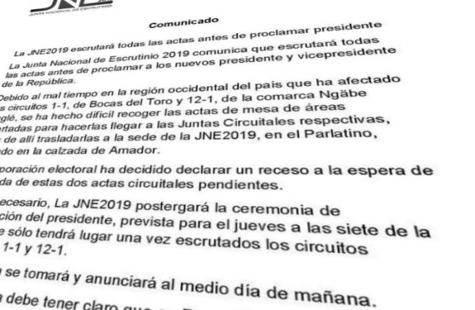Ha solo dos Actas por revisar para que JuntaNE2019 proclame a Nito Cortizo Presidente de Panamá