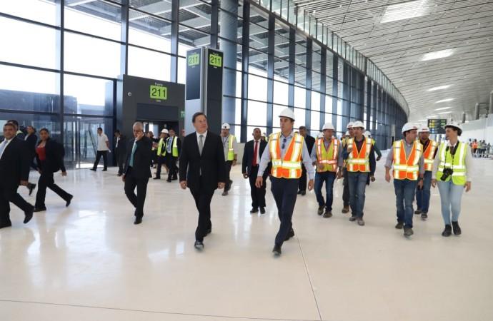 Presidente Varela recorre ampliación de Terminal 2 del Aeropuerto de Tocumen y la deja en 98% de avance