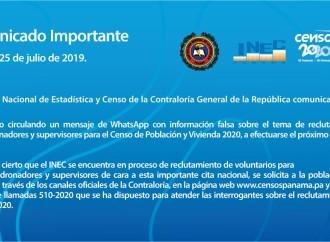INEC alerta sobre mensaje de WhatsApp con información falsa sobre reclutamiento de colaboradores para el Censo 2020