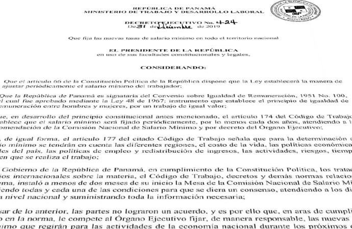 Lea el Decreto Ejecutivo No. 424 Salario Mínimo