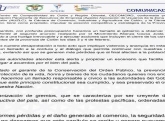 Centro de Competitividad de Colón y Región Oriental alerta sobre convocatoria de huelga irrevocable