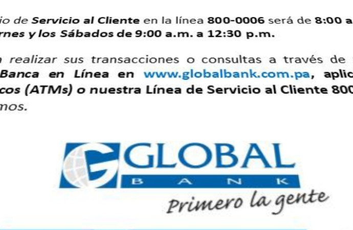 GlobalBank establece horarios rotativos en sucursales