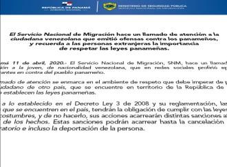 Servicio Nacional de Migración hace un llamado de atención a venezolana que emitió ofensas contra los panameños