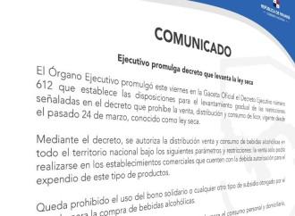 Ejecutivo promulga decreto que levanta la ley seca