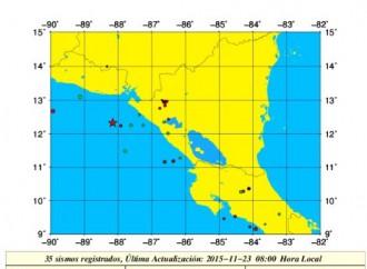 Sismo de magnitud 3.8 en la escala de Richter en costa pacífica de Nicaragua