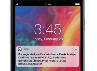 La app de Uber enviará notificaciones a usuarios para recordarles que verifiquen los datos de sus viajes