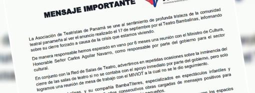 Asociación de Teatristas de Panamá se manifiesta tras cierre de la primera Sala de Teatro