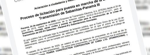 ETESA informa de la Acción de Reclamo durante proceso de licitación para puesta en marcha de la Línea de Transmisión de Sabanitas-Panamá III