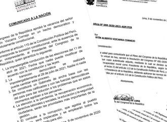 Congreso declara «Vacancia» al Presidente del Perú, Martín Vizcarra
