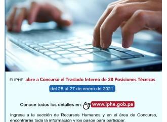 IPHE abre convocatoria del Concurso de Traslado Interno para su personal técnico