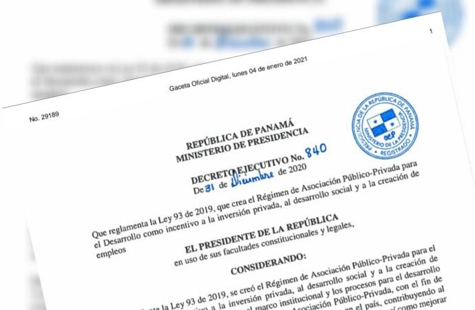Ejecutivo promulgó el reglamento de la Ley 93 que creó el Régimen de Asociación Público-Privada