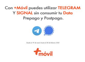 Usuarios de +Móvil tendrán a su disposición de manera gratuita acceso a las Apps de mensajería Telegram y Signal
