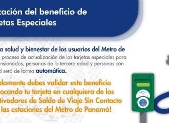 Beneficio de tarjeta especial del Metro de Panamá se extenderá automáticamente