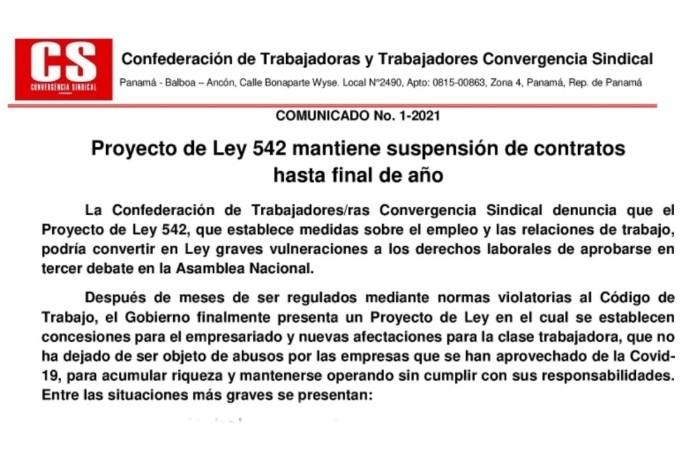 Comunicado: Proyecto de Ley 542 mantiene suspensión de contratos hasta final de año