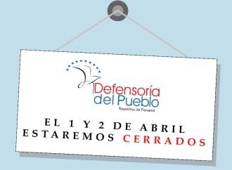 Defensoría del Pueblo suspende servicios en Semana Santa