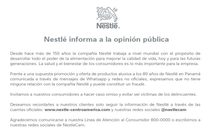 Nestlé alerta posible fraude con supuesta promoción publicada en WhatsApp y Redes Sociales