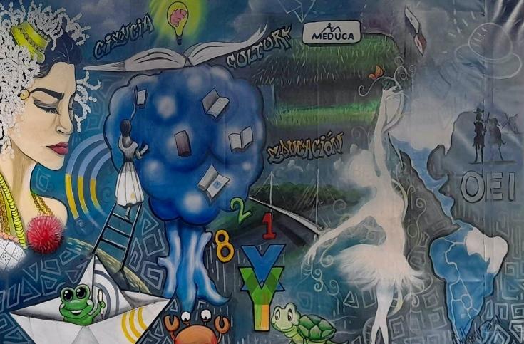 Este mural conmemorativo fue realizado por el pintor panameño Anthony Barbosa