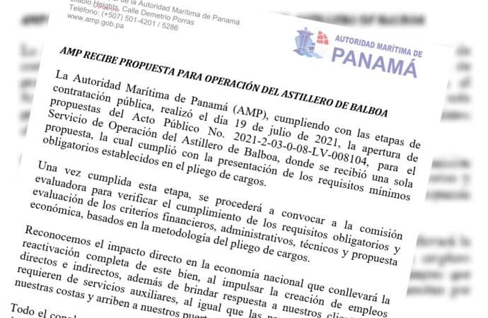 AMP recibe propuesta para operación del Astillero de Balboa
