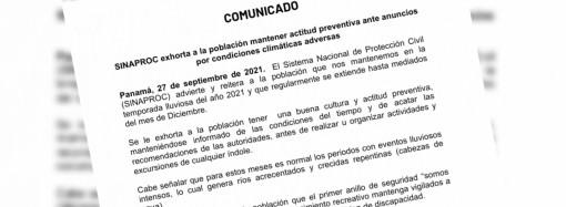 SINAPROC exhorta a la población mantener actitud preventiva ante anuncios por condiciones climáticas adversas